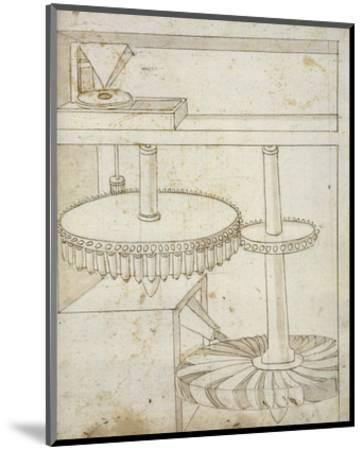Folio 44: mill powered by horizontal wheel-Francesco di Giorgio Martini-Mounted Art Print