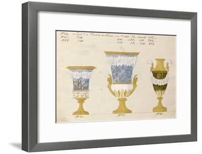 Trois vases en blanc du 1er choix, ca. 1800-1820-Honore-Framed Art Print