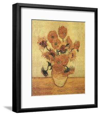 Sunflowers On Gold-Vincent van Gogh-Framed Art Print