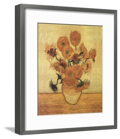 Sunflowers On Gold-Vincent van Gogh-Framed Art Print