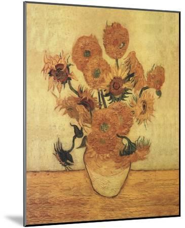 Sunflowers On Gold-Vincent van Gogh-Mounted Art Print