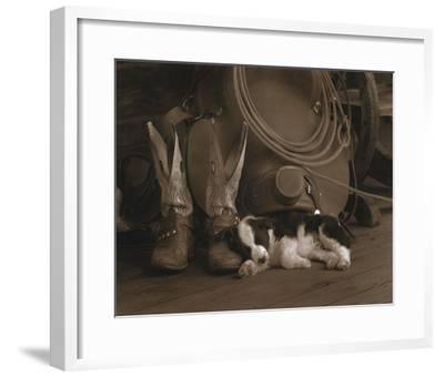 Cowboy Puppy-Robert Dawson-Framed Art Print