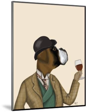 Boxer Wine Snob-Fab Funky-Mounted Art Print