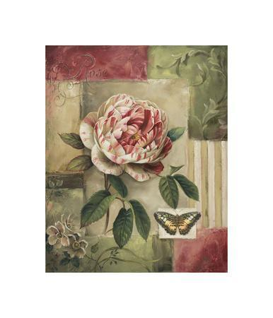 Rose and Butterfly-Lisa Audit-Framed Giclee Print