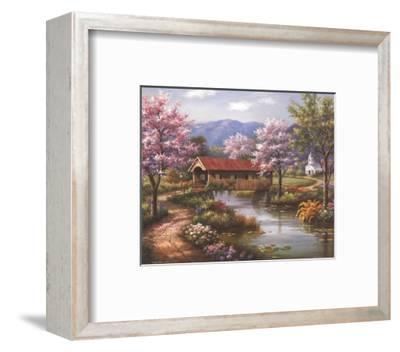 Covered Bridge in Spring-Sung Kim-Framed Art Print