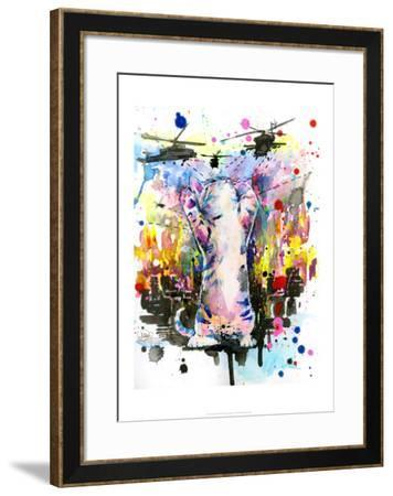 Catzilla-Lora Zombie-Framed Art Print