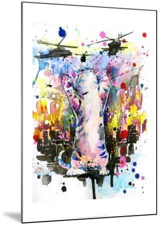 Catzilla-Lora Zombie-Mounted Art Print