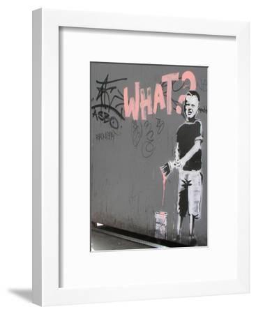 What?-Banksy-Framed Art Print
