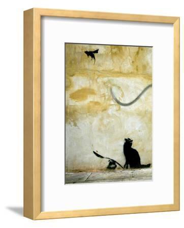 Cat-Banksy-Framed Art Print