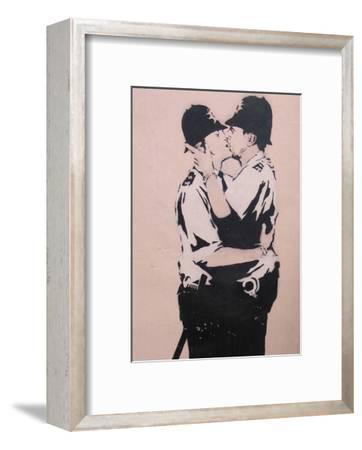 Kissing policemen-Banksy-Framed Art Print