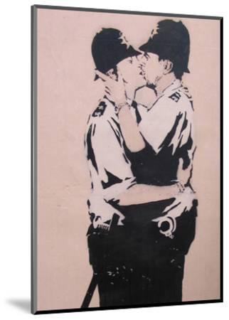 Kissing policemen-Banksy-Mounted Art Print