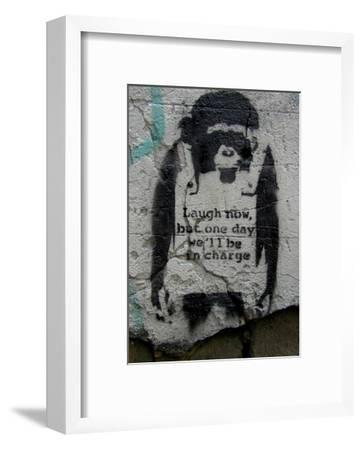 Laugh Now-Banksy-Framed Art Print