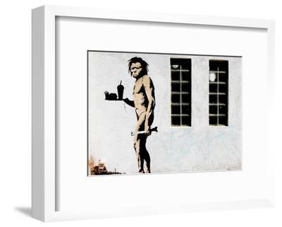 Cave Man Fast Food-Banksy-Framed Art Print