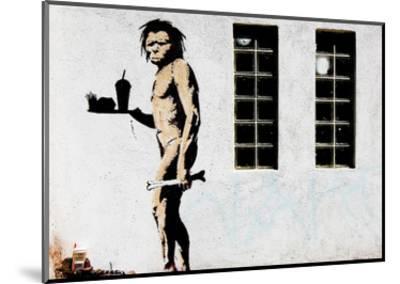 Cave Man Fast Food-Banksy-Mounted Art Print