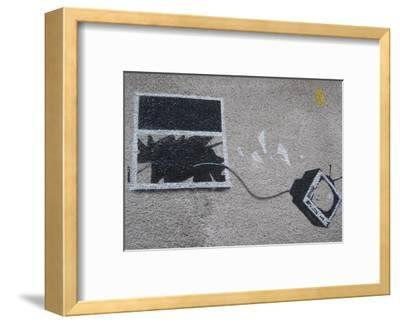 Out the window-Banksy-Framed Art Print
