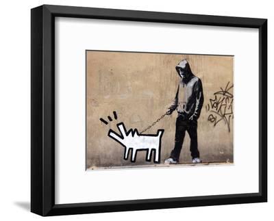 Dog-Banksy-Framed Art Print