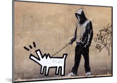 Dog-Banksy-Mounted Art Print