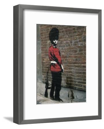 Pissing Soldier-Banksy-Framed Art Print