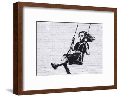 Girl on a Swing-Banksy-Framed Art Print