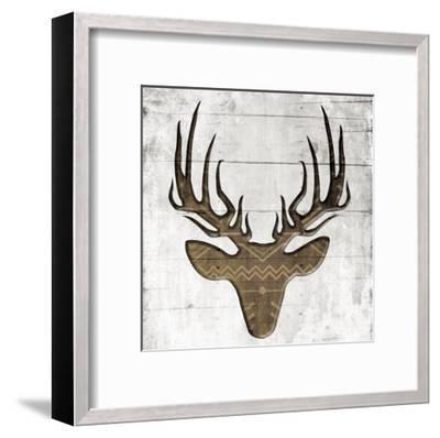 White Wood Deer Mate-Jace Grey-Framed Art Print