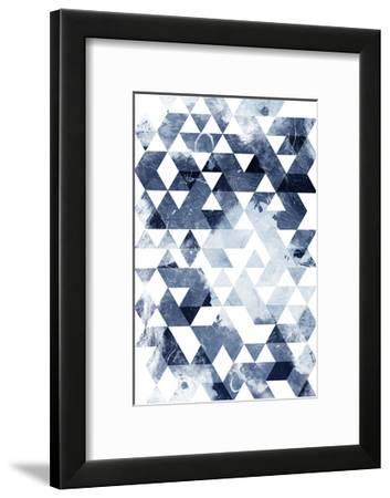Blue Triangles Mate-OnRei-Framed Art Print