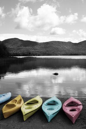 Kayaks Pastels-Suzanne Foschino-Framed Art Print