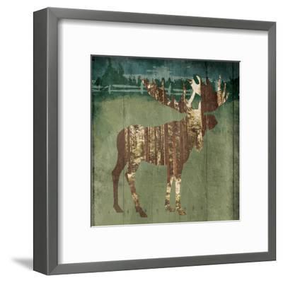 Moose In The Field-OnRei-Framed Art Print