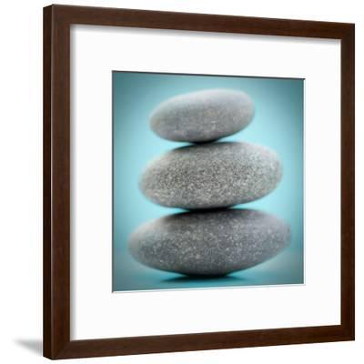 Stacking Stones 1 Teal-Sandro De Carvalho-Framed Art Print