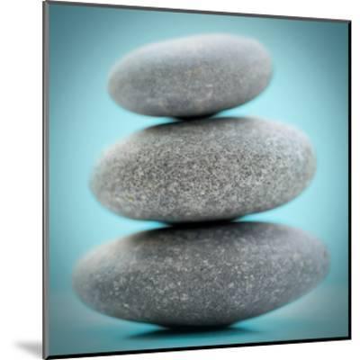 Stacking Stones 1 Teal-Sandro De Carvalho-Mounted Art Print