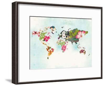 World Map 1-Peach & Gold-Framed Art Print