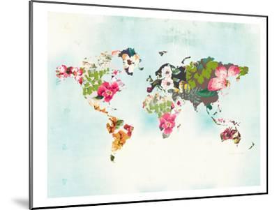World Map 1-Peach & Gold-Mounted Art Print