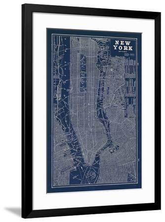 Blueprint Map New York-Sue Schlabach-Framed Art Print