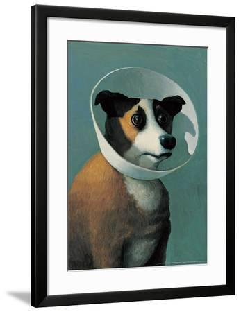 Dog with Cone-Michael Sowa-Framed Art Print
