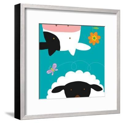 Farm Group: Cow and Sheep-Yuko Lau-Framed Art Print