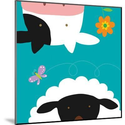 Farm Group: Cow and Sheep-Yuko Lau-Mounted Art Print