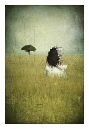 Girl On The Field-Majali-Framed Art Print