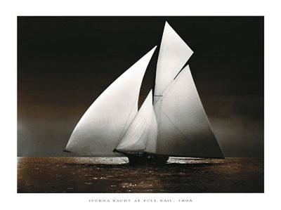 Iverna Yacht at Full Sail, 1895-Unknown-Framed Art Print