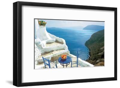 Oranges on Blue Table-George Meis-Framed Art Print