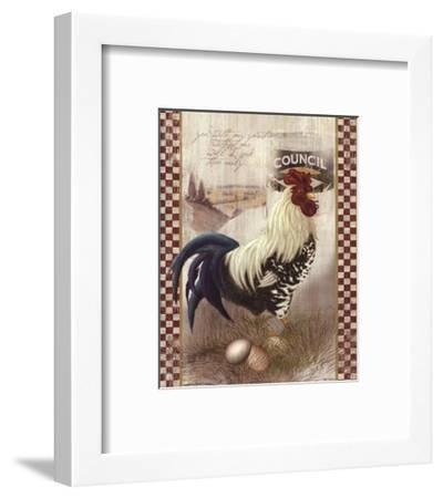 Checkered Past Rooster-Alma Lee-Framed Art Print