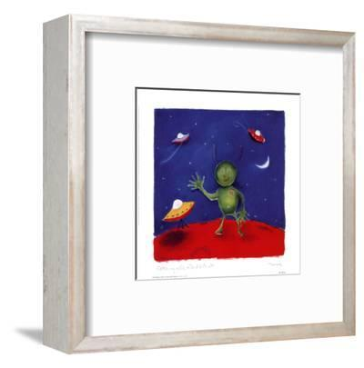Catching A Cab On The Red Planet-Dona Turner-Framed Art Print