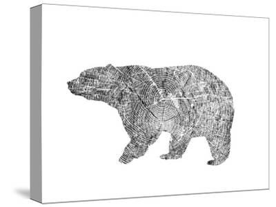 Bear-Peach & Gold-Stretched Canvas Print