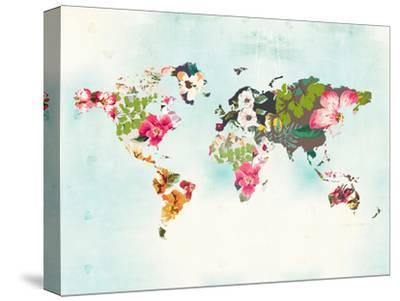 World Map 1-Peach & Gold-Stretched Canvas Print