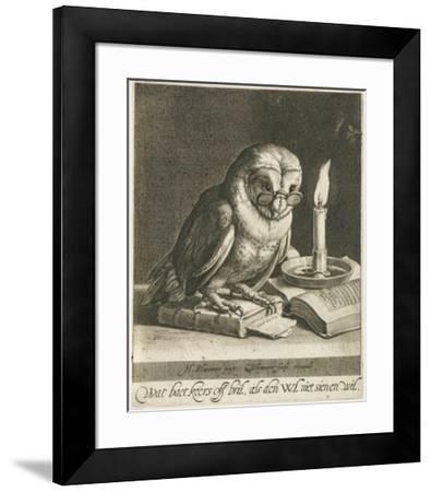 Owl with glasses and books, c. 1625-Cornelis Bloemaert (II)-Framed Art Print