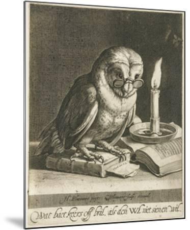 Owl with glasses and books, c. 1625-Cornelis Bloemaert (II)-Mounted Art Print