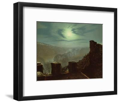 Full Moon Behind Cirrus Cloud from the Roundhay Park Castle Battlements-John Atkinson Grimshaw-Framed Giclee Print