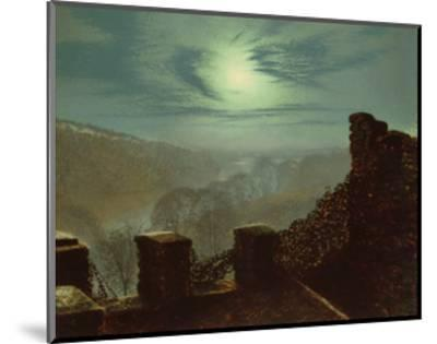 Full Moon Behind Cirrus Cloud from the Roundhay Park Castle Battlements-John Atkinson Grimshaw-Mounted Giclee Print