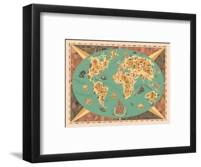 Map of World - TAI Airline (Transports Aeriens Intercontinenteaux)-F^ Lesourt-Framed Art Print