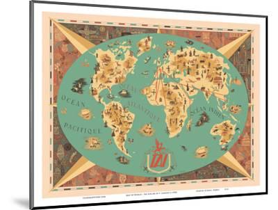 Map of World - TAI Airline (Transports Aeriens Intercontinenteaux)-F^ Lesourt-Mounted Art Print
