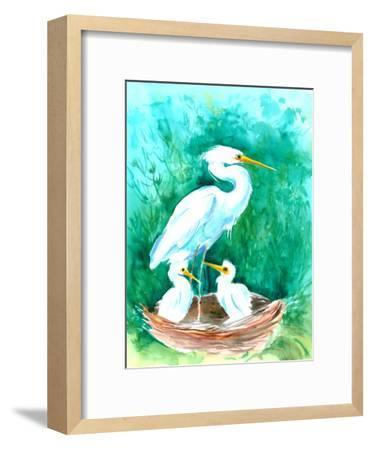 Heron-Suren Nersisyan-Framed Art Print