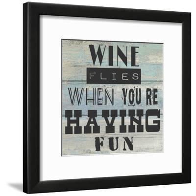 Wine Flies When You're Having Fun - square-Veruca Salt-Framed Art Print